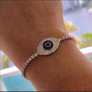 White gold plated evil eye adjustable bracelet
